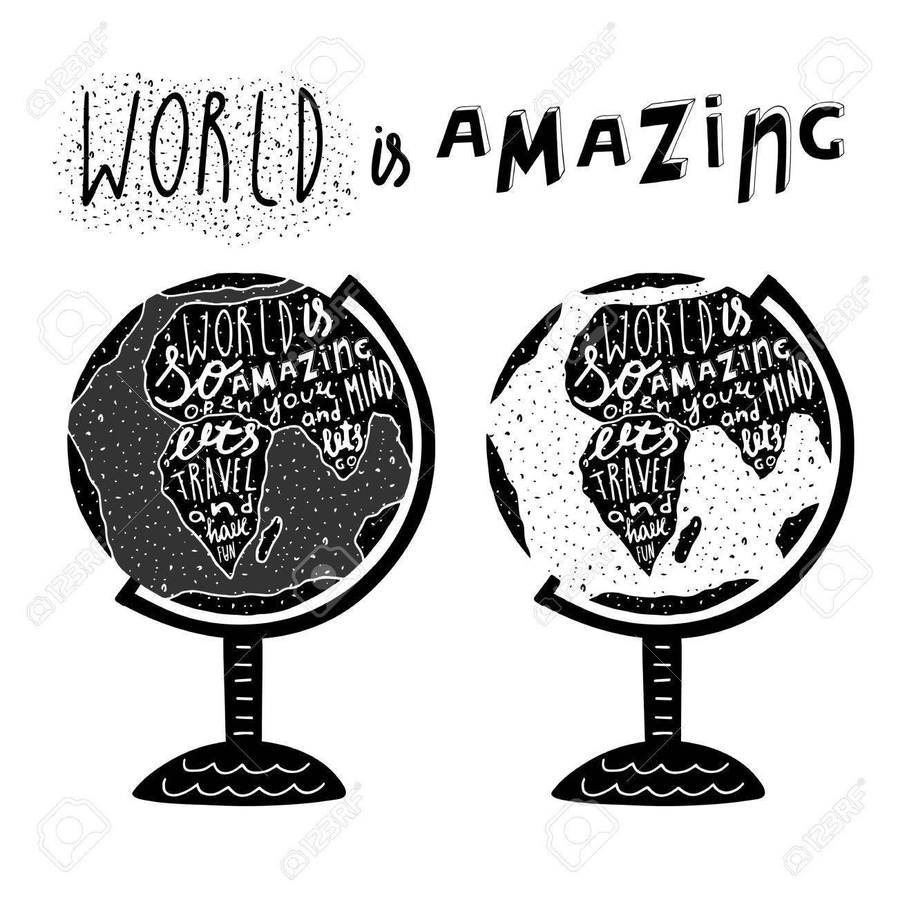Hand Drawn Black Globe Logo With Lettering Quotes Lets Travel And Have Fun Postcard
