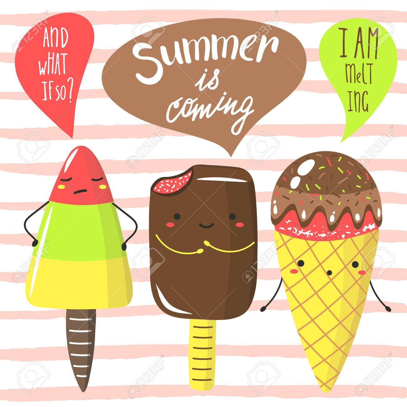Lovely Cute Hand Drawn Doodle Summer Is Coming Card, Postcard, Cover With Ice  Cream Funny