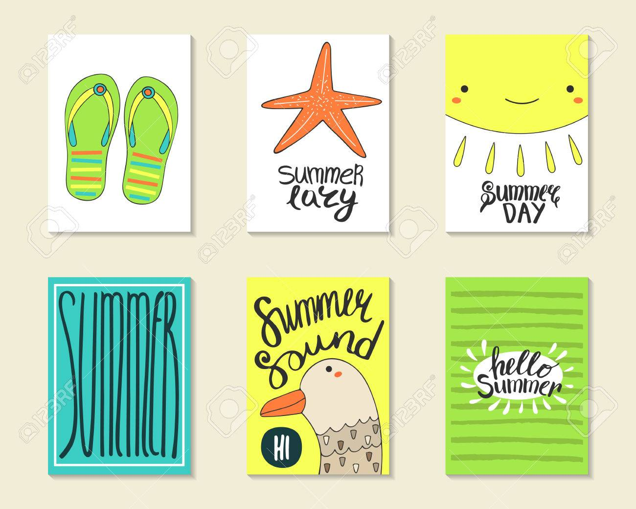 cute doodle summer party cards brochures invitations with flip