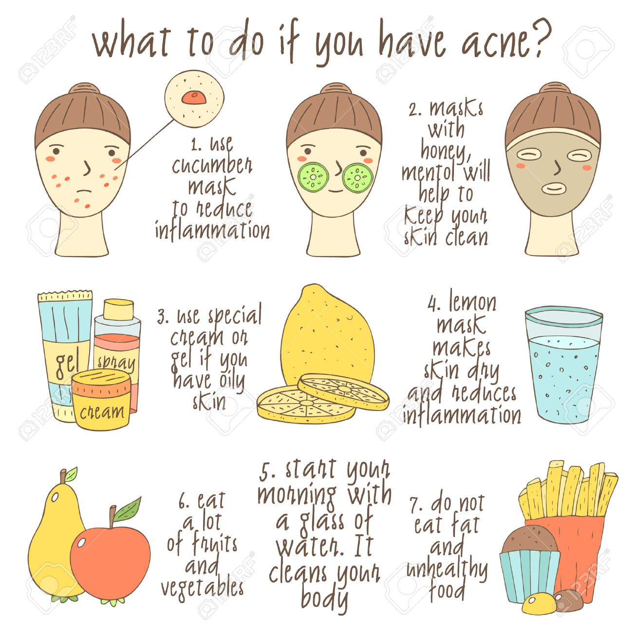 Cute hand drawn doodle infographic about what to do if you have acne. Objects collection including faces, lemon, glass of water, cream, gel, apple, pear, muffin, fries, face mask. Skin problems icons - 57608634