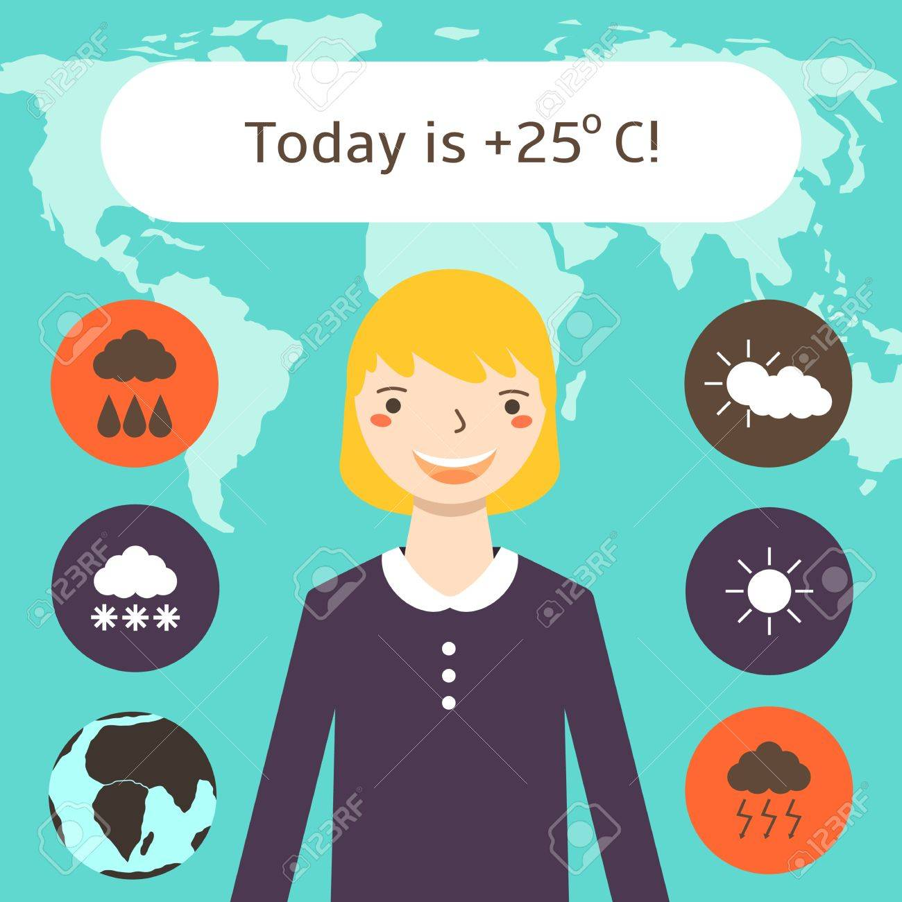 Cute Flat Style Weather Forecast Background With Pretty Blonde