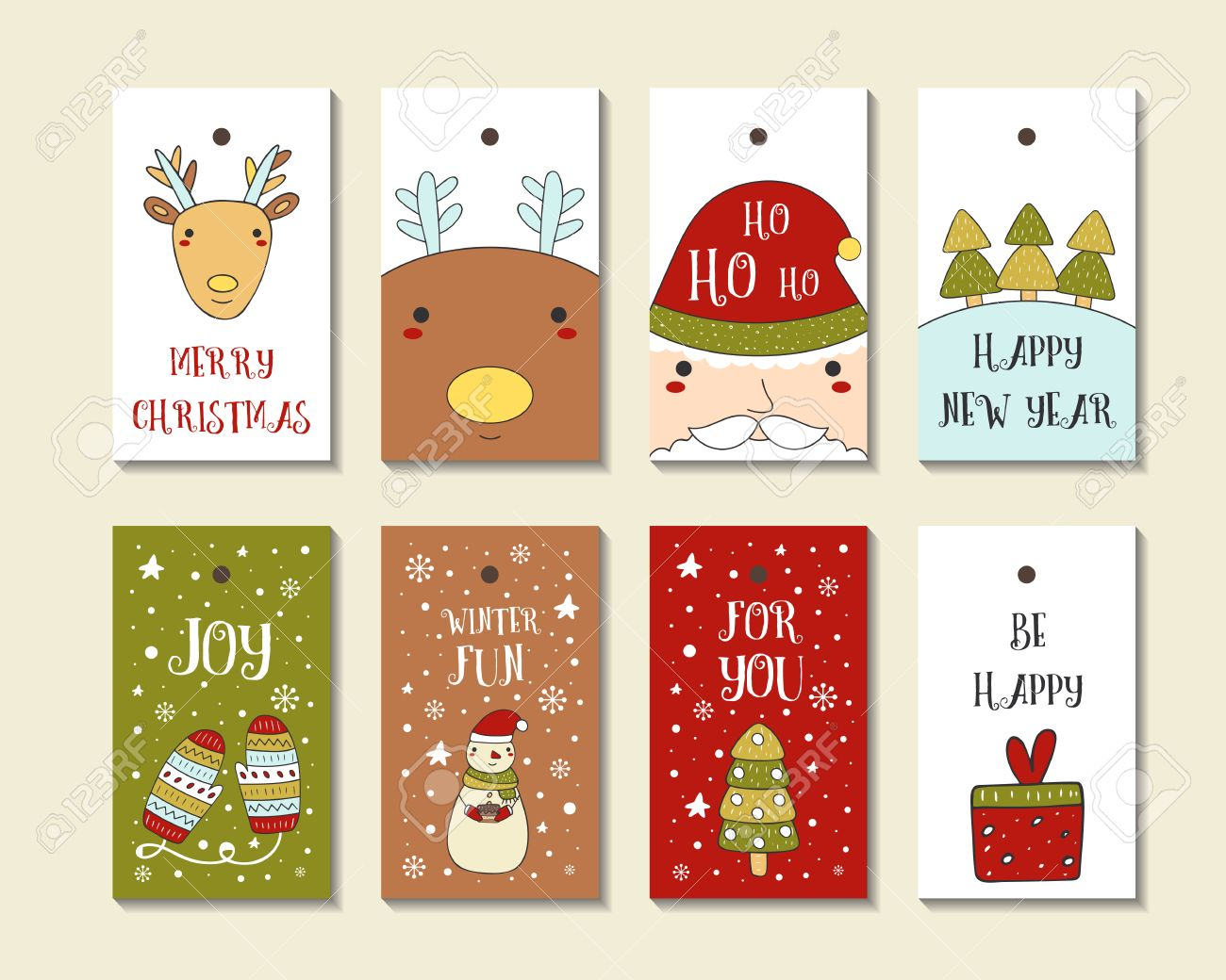 Cute Hand Drawn Doodle Christmas Cards Brochures Postcards Royalty Free Cliparts Vectors And Stock Illustration Image 62192703