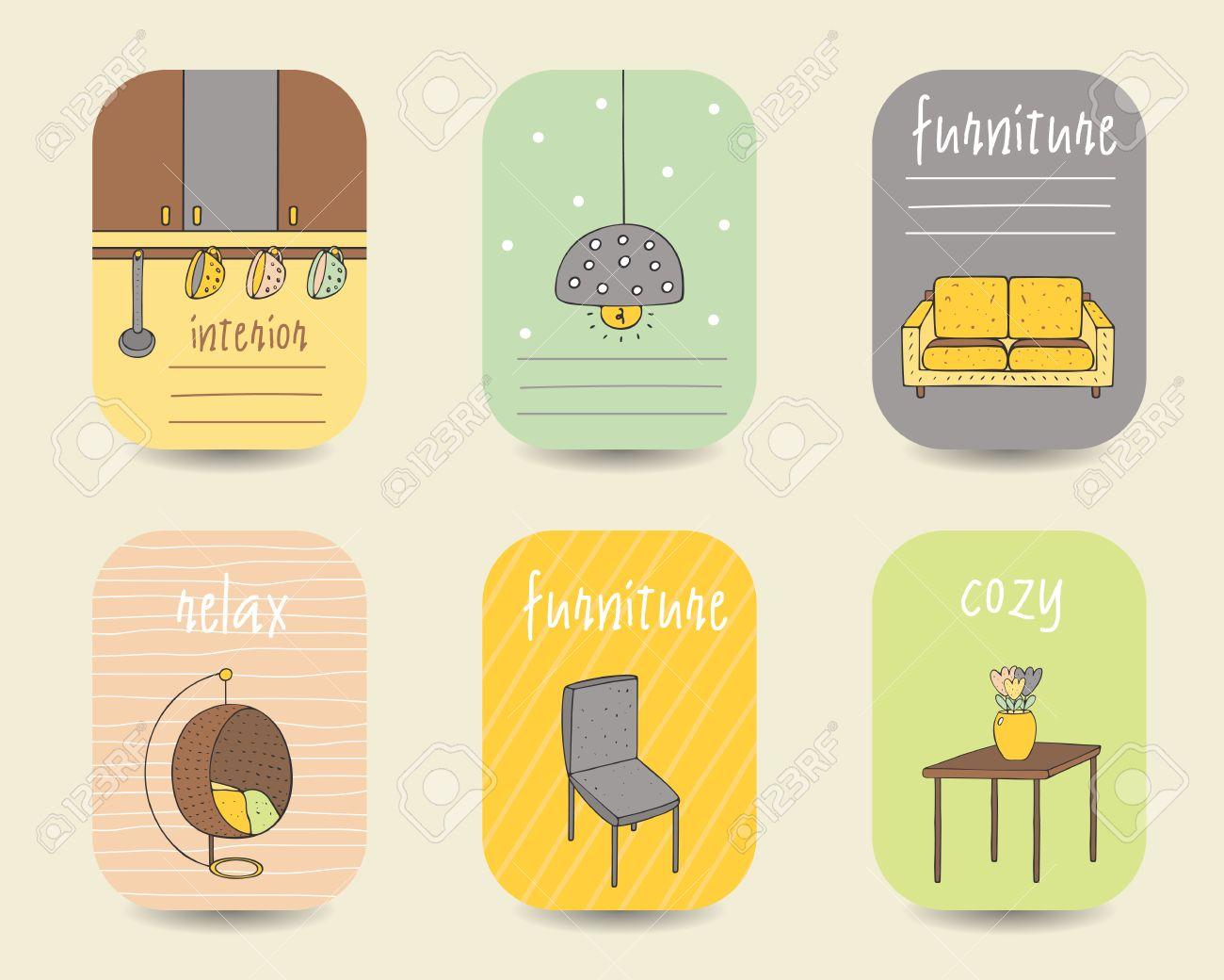 Netter Doodle Interieur, Möbel Karten, Broschüren, Postkarten Mit ...