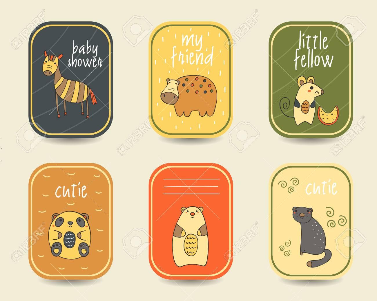 Nette Hand Doodle Baby-Dusche Karten Gezogen, Broschüren ...
