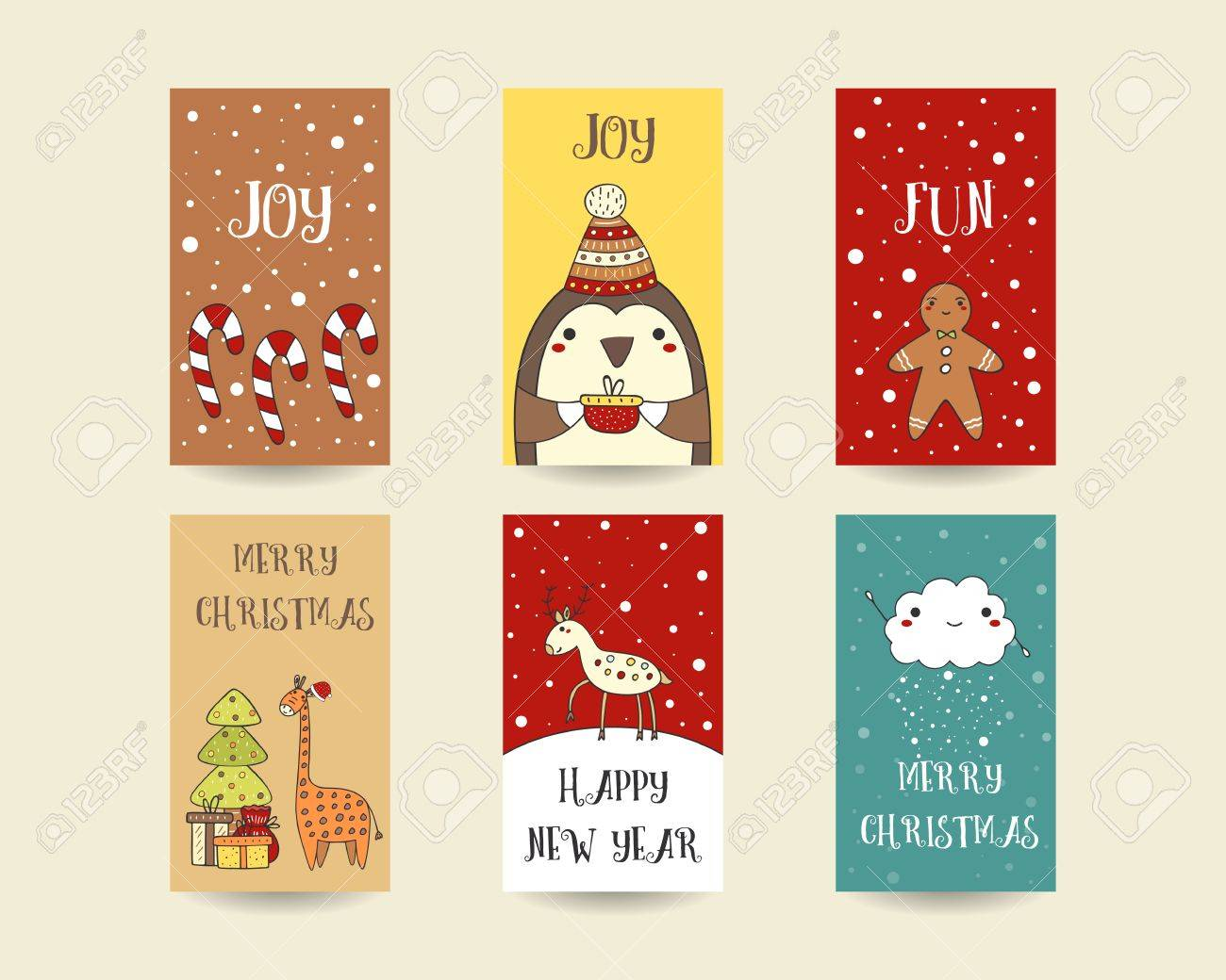 Cute Hand Drawn Christmas Cards, Postcards With Candy Sticks ...