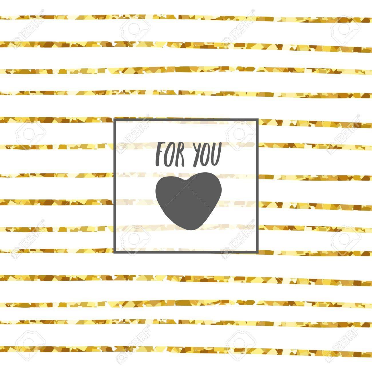 Hand Gezeichnete Karte, Postkarte Mit Herz, Rahmen, Streifen ...