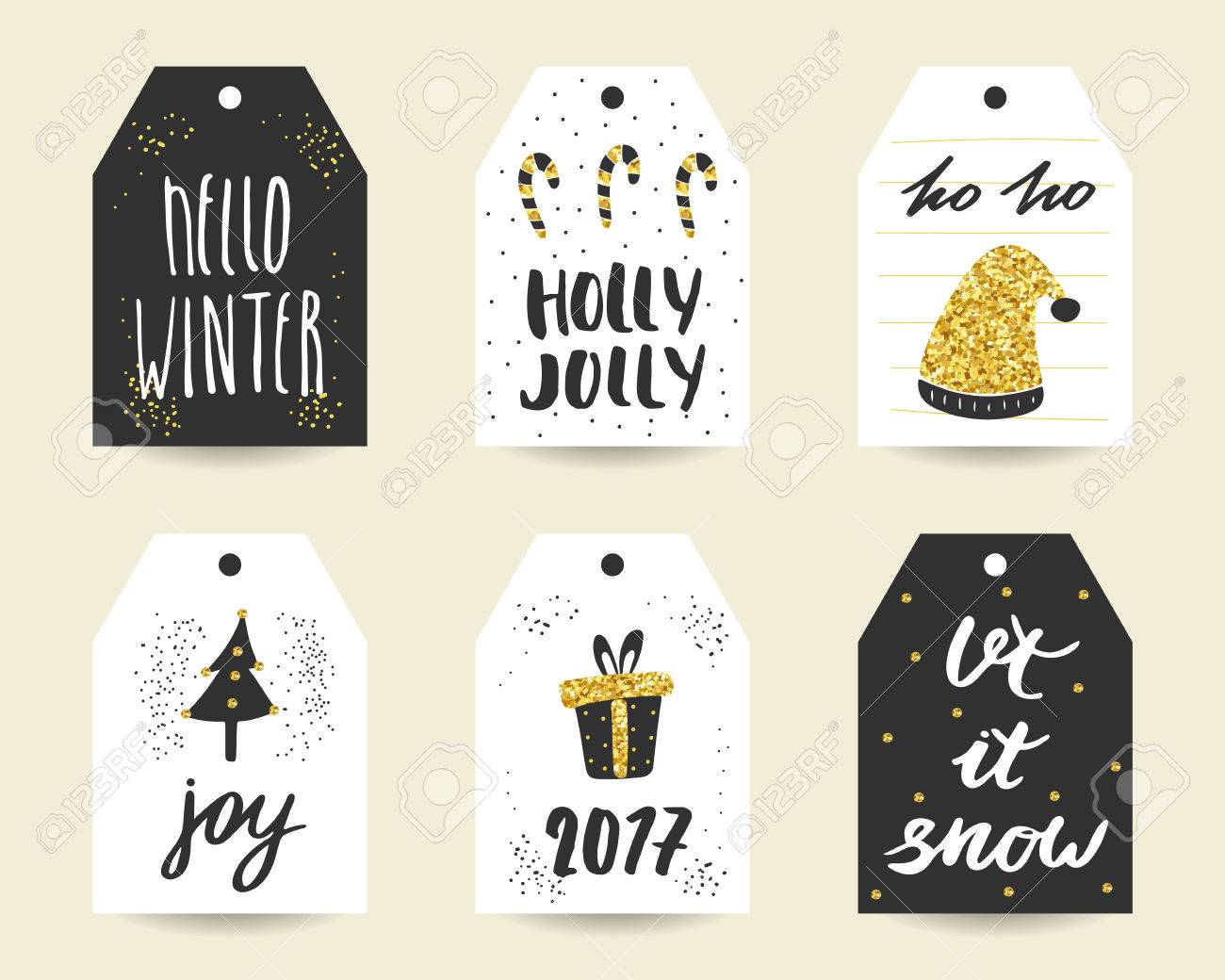 Cute Hand Drawn Christmas Cards, Tags With Candy Sticks, Santa ...