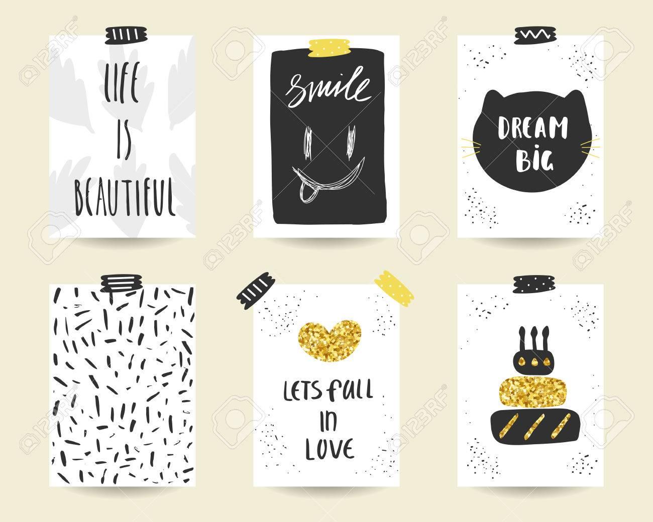 Joli Doodle Anniversaire Noir Et Or Fête Cartes De Douche De Bébé Brochures Invitations Avec Gâteau Coeur Chat Sourire Feuilles