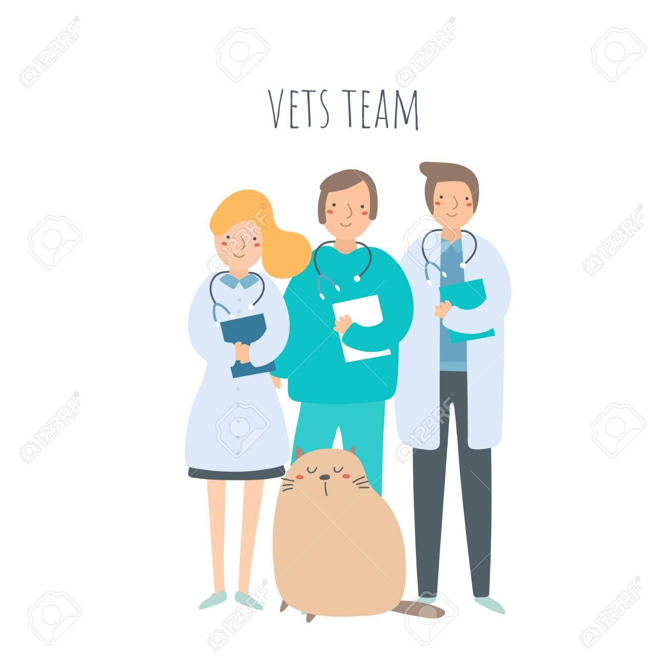 Veterinarian team with cat. Pet doctors set - 119106855