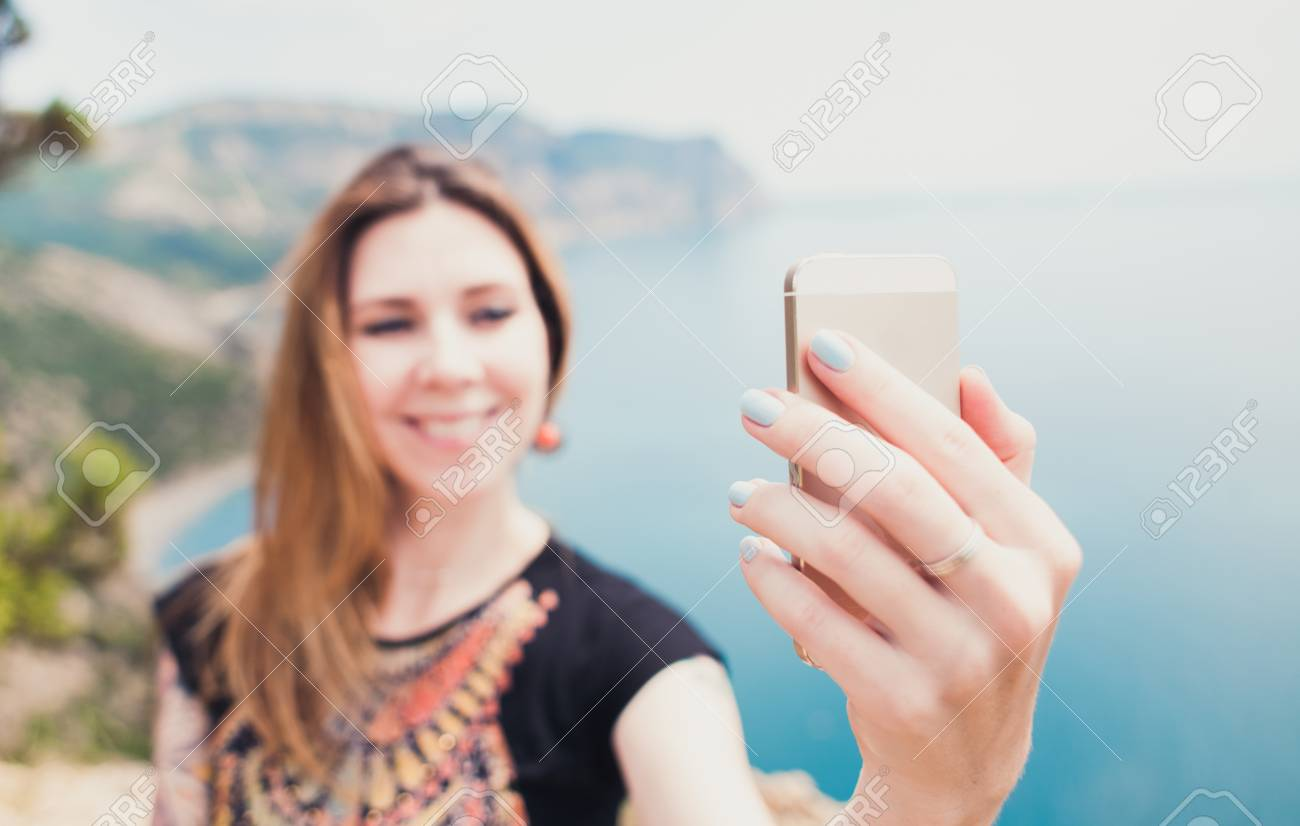 Young Smiling Woman Taking Travel Selfie On Trekking Excursion