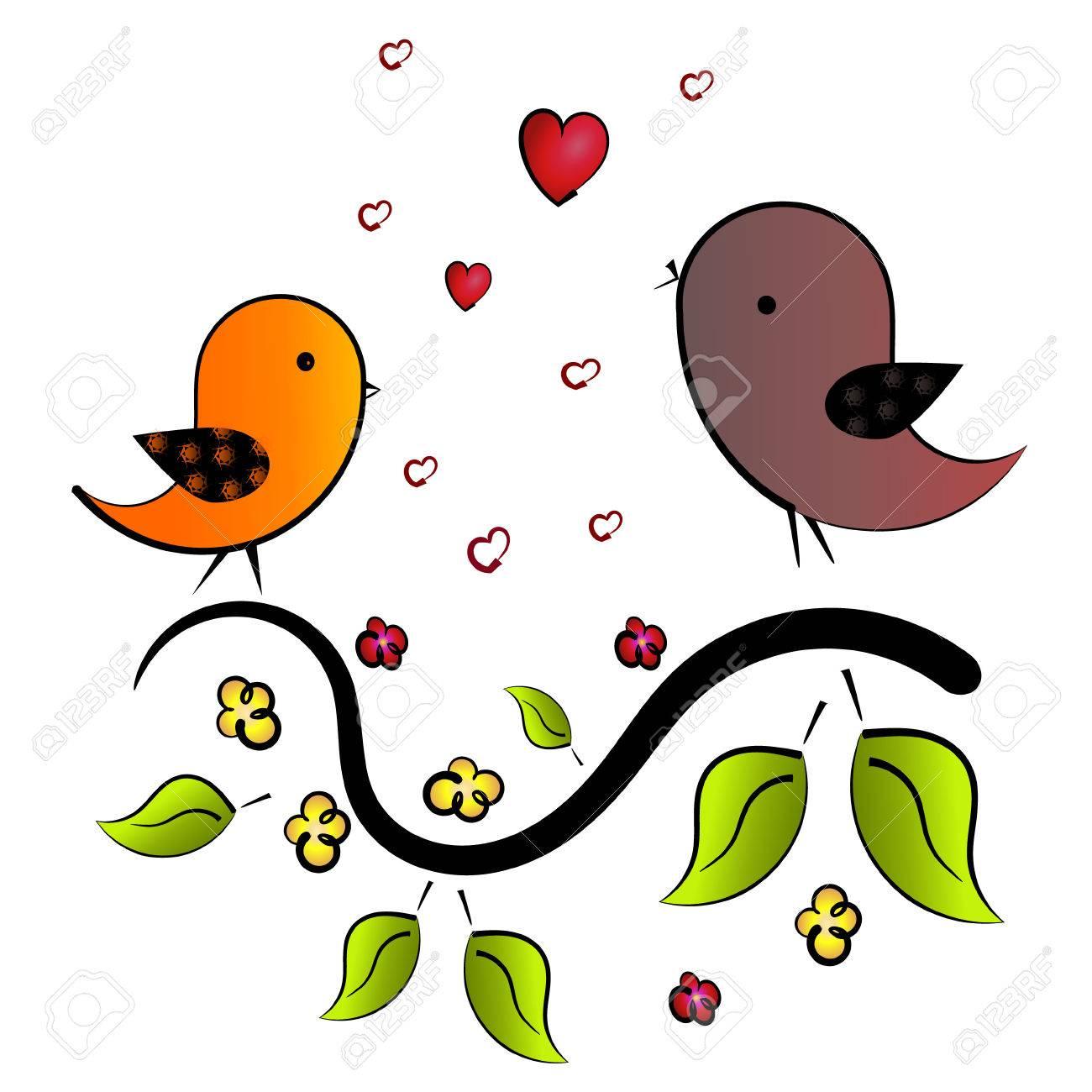 Bird Sings A Love Song In Spring Stock Vector   59162918