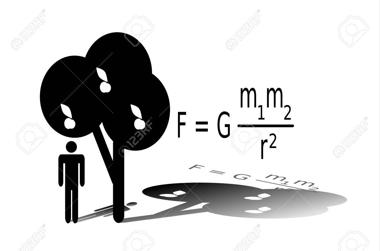 silhouette of isaac newton standing under an apple tree newtons law of universal gravitation stock