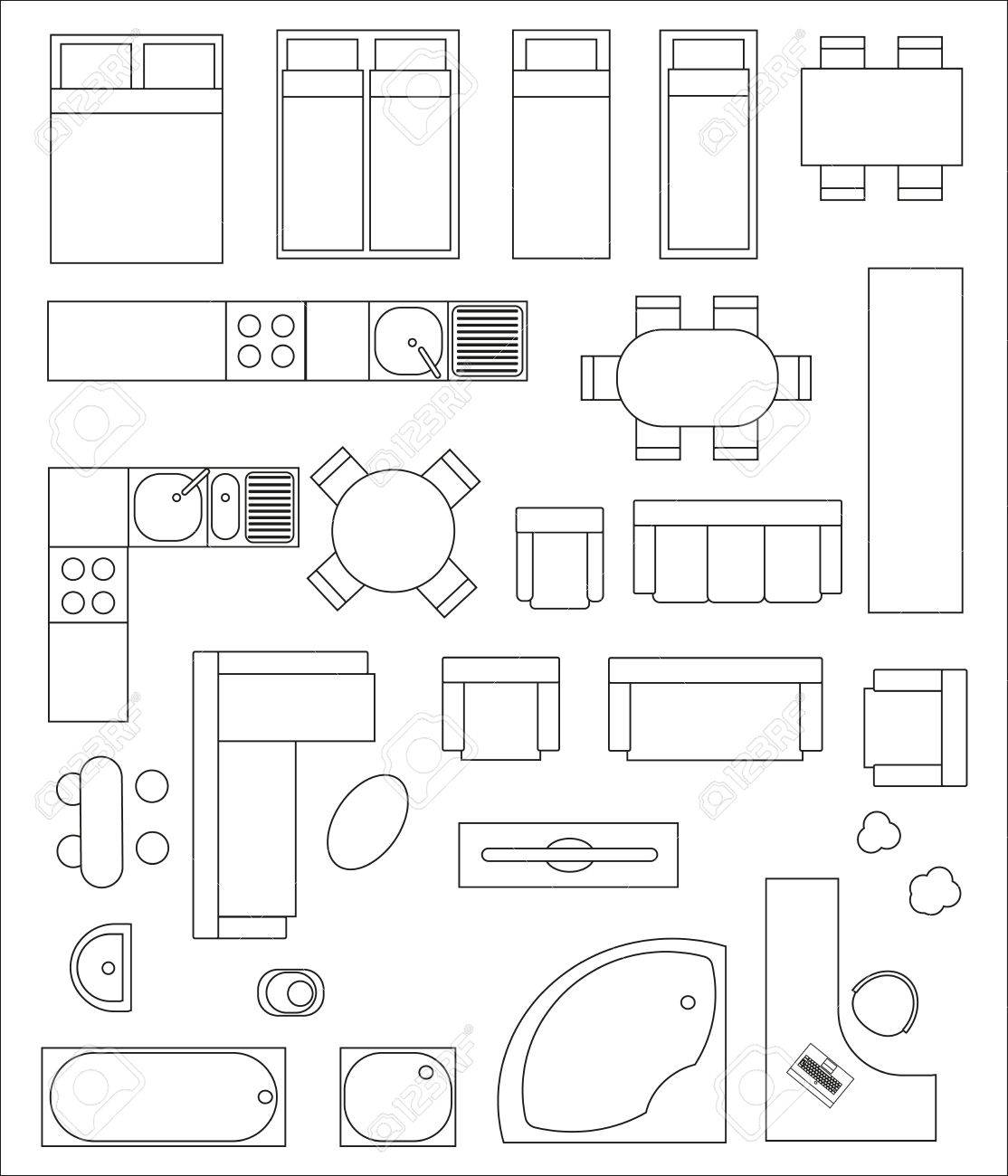 Set Draufsicht Interieur. Verschiedene Varianten Von Möbeln Für ...