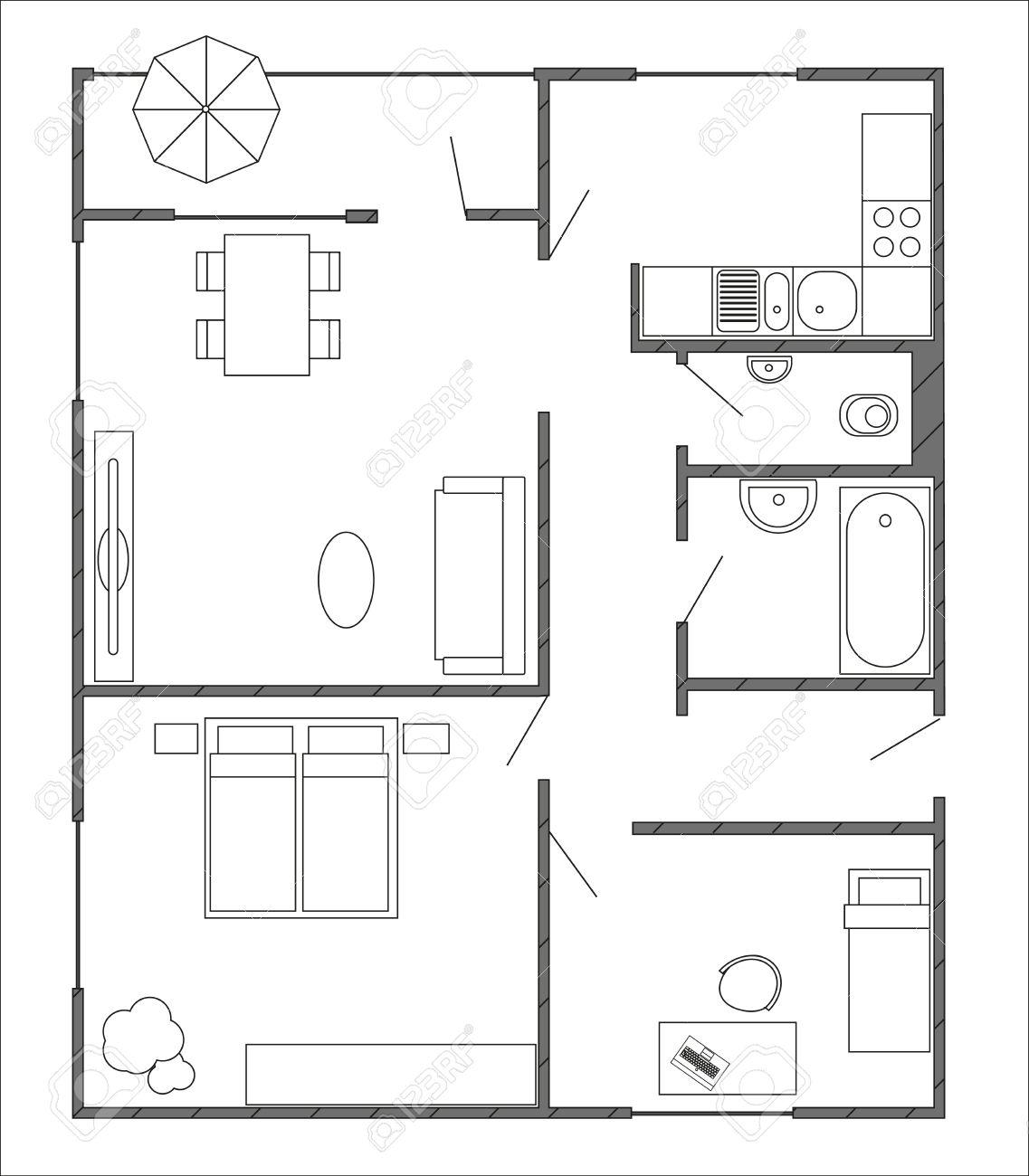 Architektur Plan Mit Möbeln In Der Draufsicht Von 3 Zimmer Wohnung Mit  Balkon.