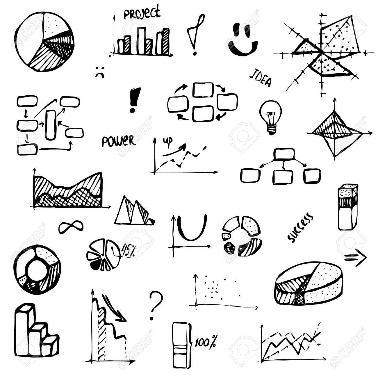 Set of hand drawing business diagram histogram pie chart graph set of hand drawing business diagram histogram pie chart graph of a function ccuart Images