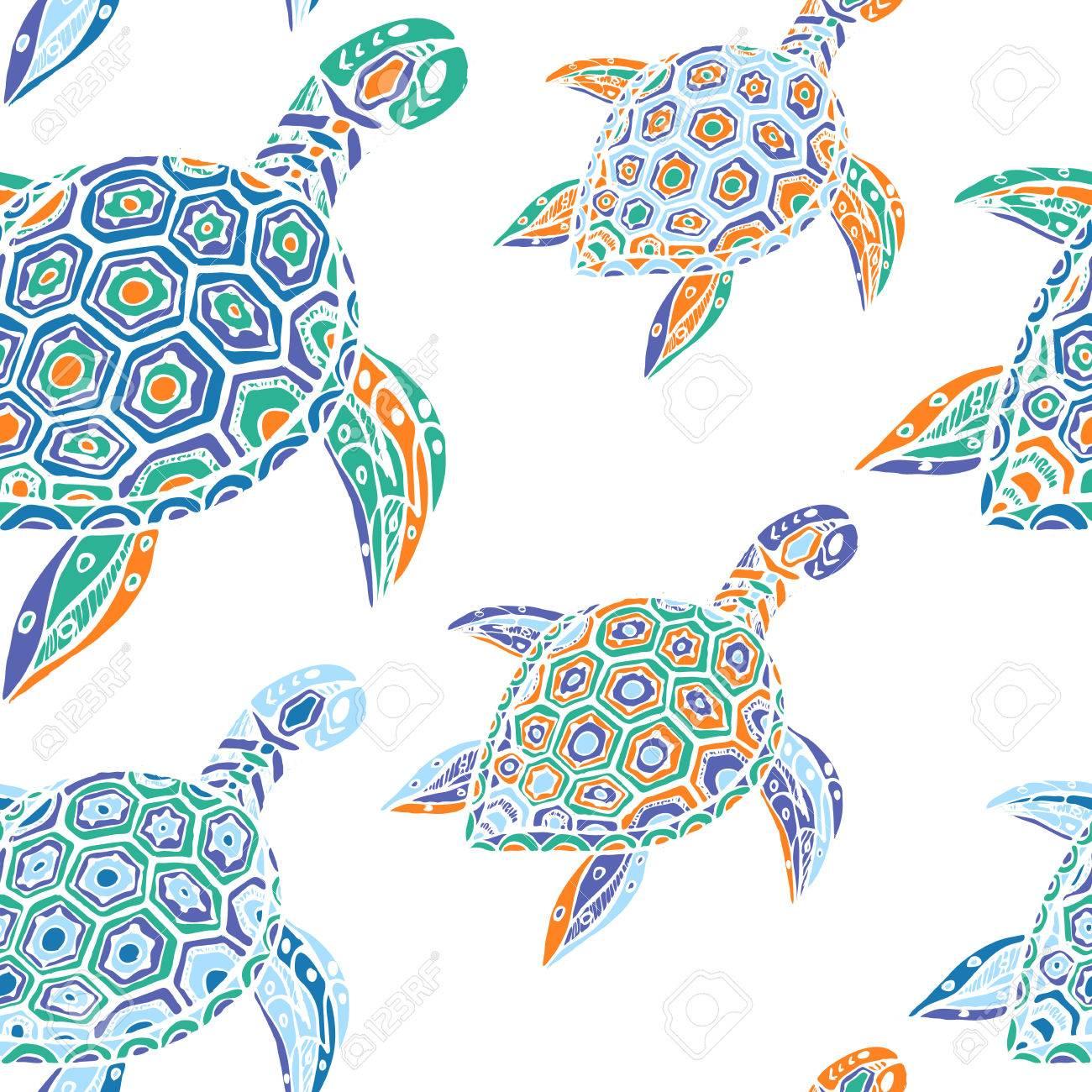 Sin Patrón De Tortugas Azules Ilustraciones Vectoriales, Clip Art ...