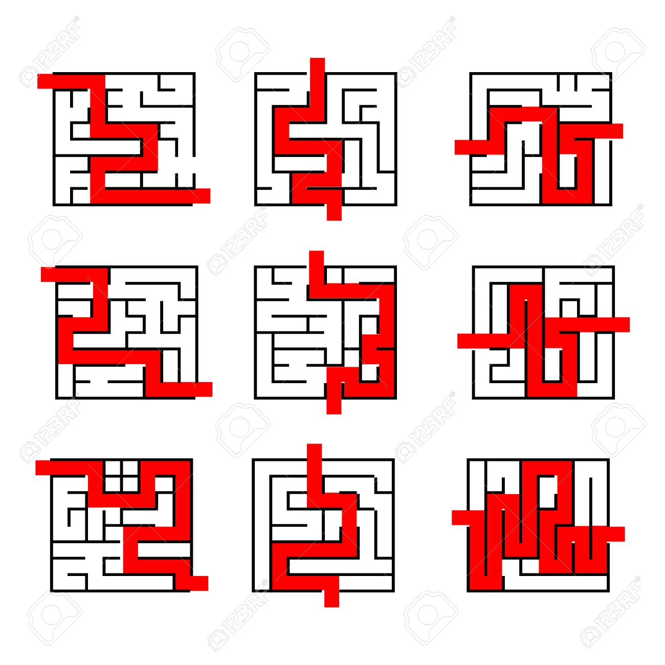 Collection Of Easy Maze Puzzle Game 2 Black And White Labyrinth