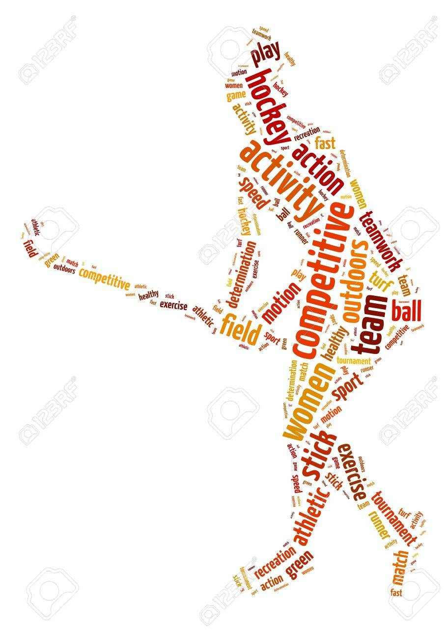 words illustration of a woman playing field hockey over white