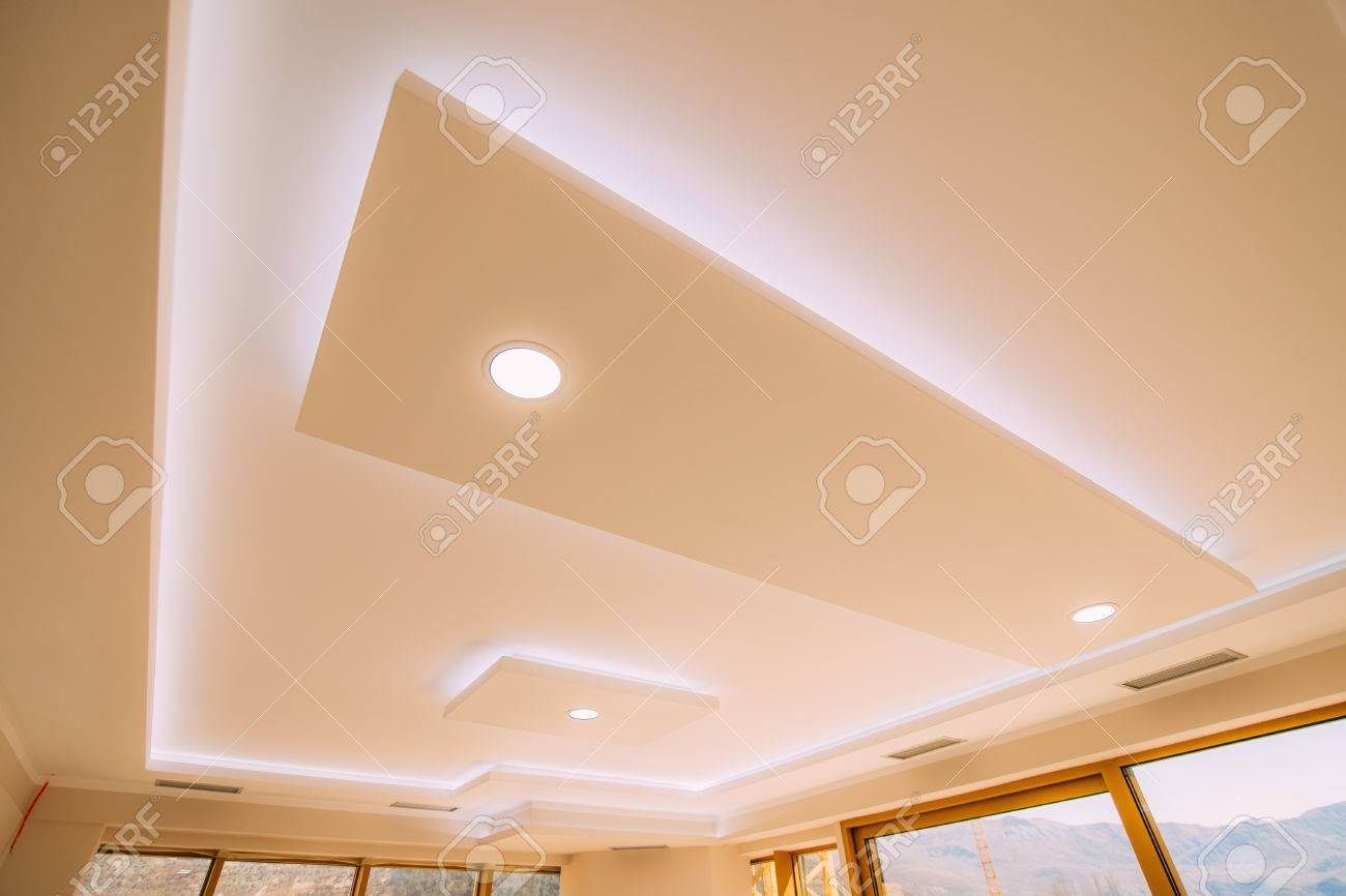 Stretch Ceiling Film The Design Of The Apartment Renovated Stock