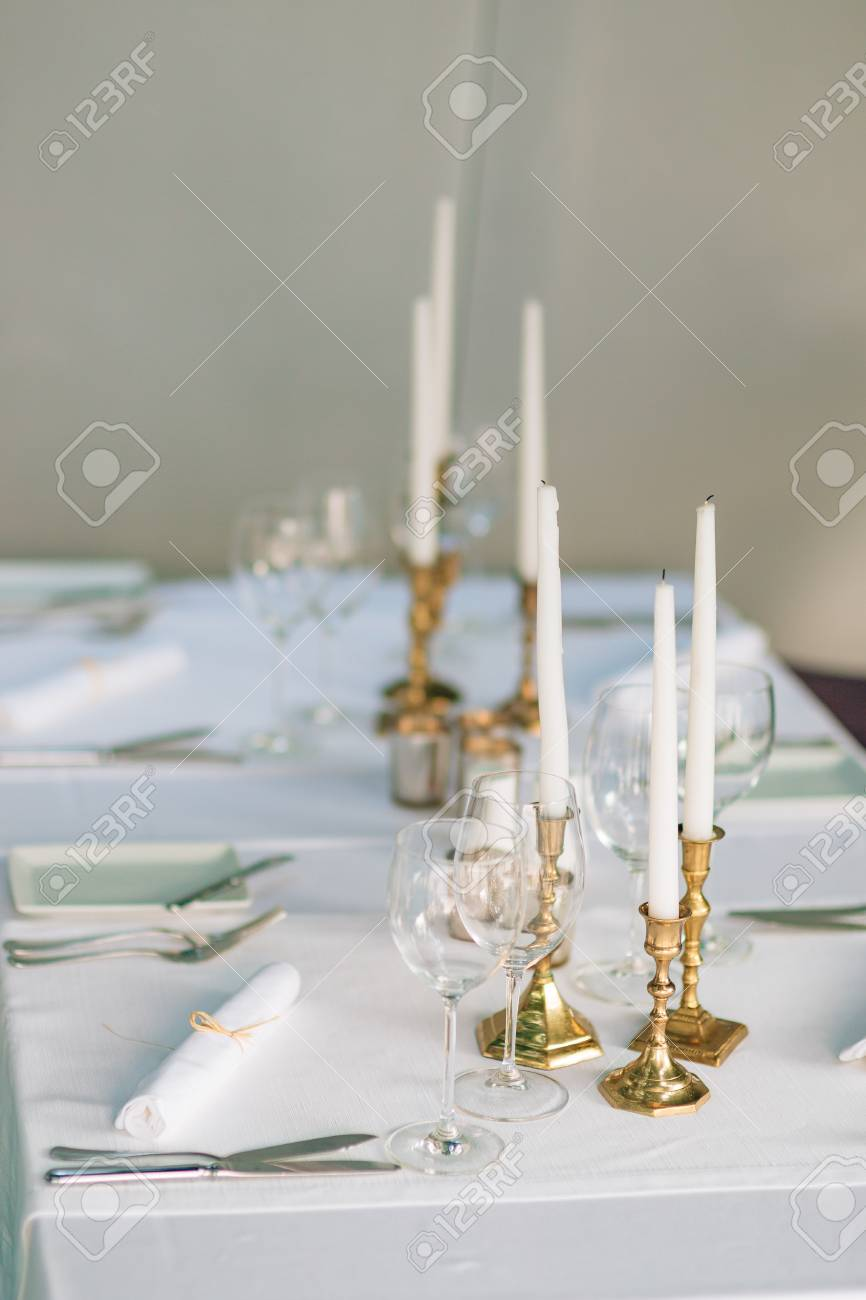 Candles On The Table In The Restaurant Table Setting In A Cafe - Restaurant table candles
