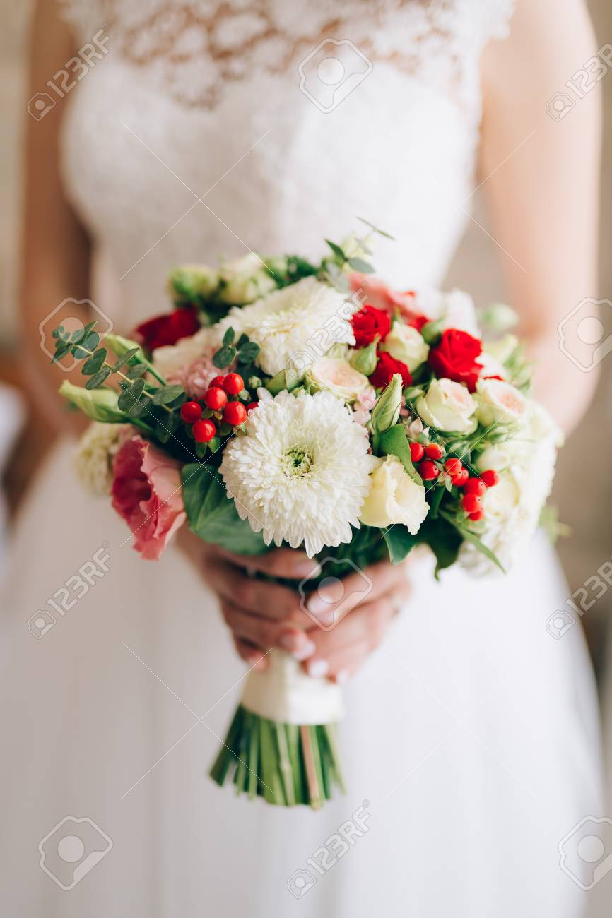 Wedding Bridal Bouquet Of Roses Chrysanthemums Eucalyptus Baby Stock Photo Picture And Royalty Free Image Image 85825210