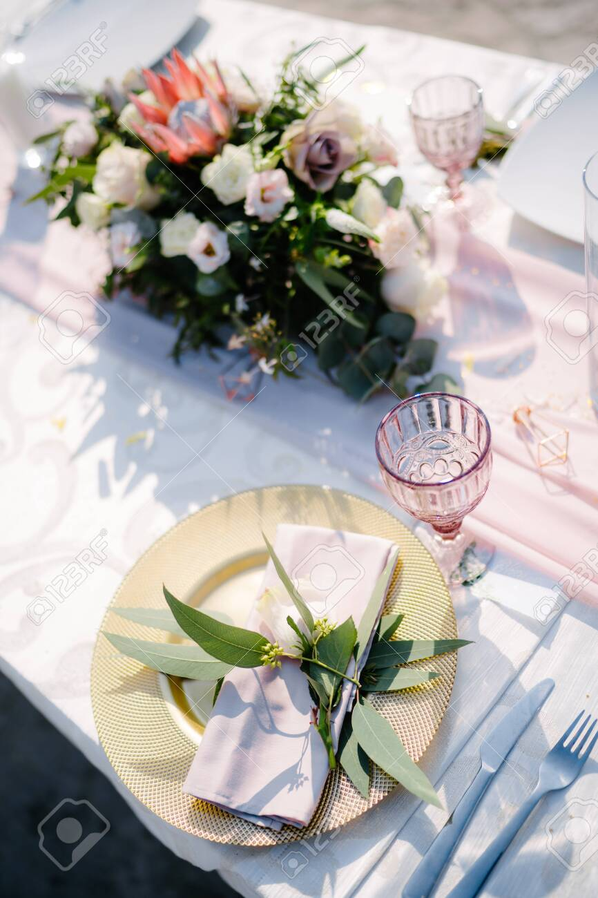Wedding Dinner Table Reception Gold Plate With Pink Cloth Napkin Stock Photo Picture And Royalty Free Image Image 147479648