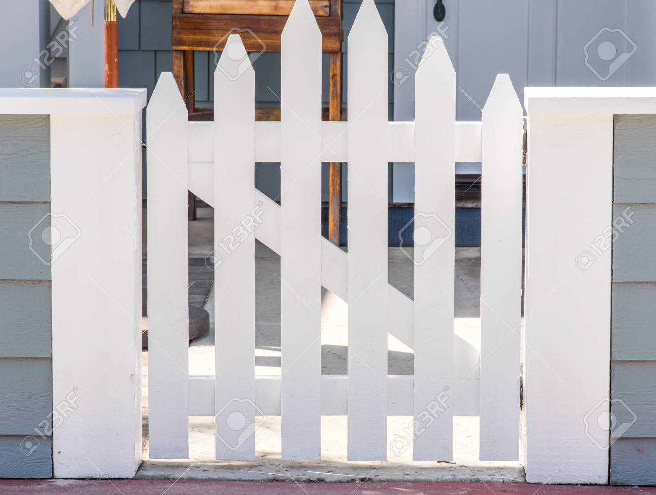 Nice New White Closed Fence Gate With Z-frame And Convex Shape Stock ...