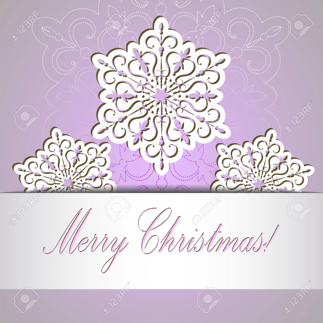 pale light purple new year greeting card with paper tape and snowflakes stock vector 89587197