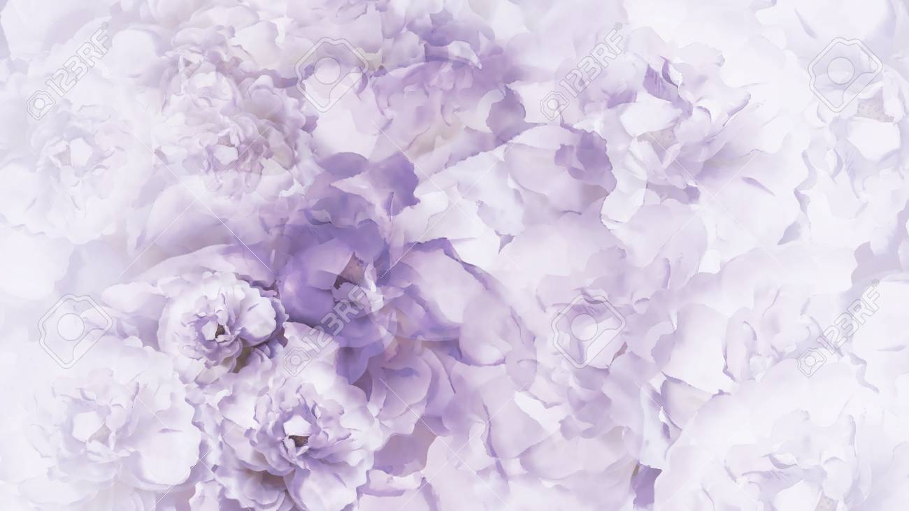 Floral Purple White Background Purple White Vintage Flowers Stock