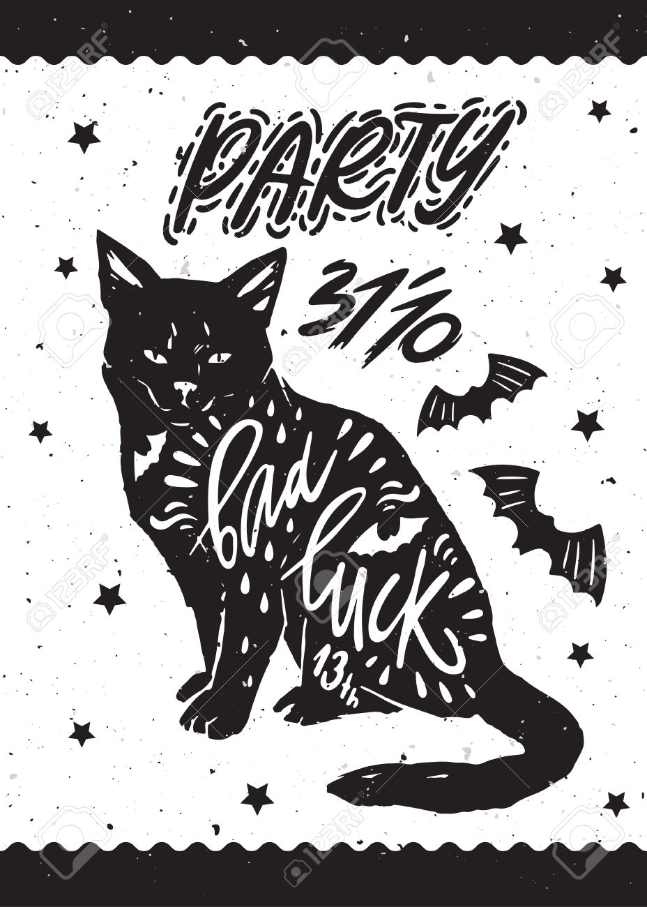 Cat Stock Quote Typography Poster For Helloween Party With Black Cat Bat