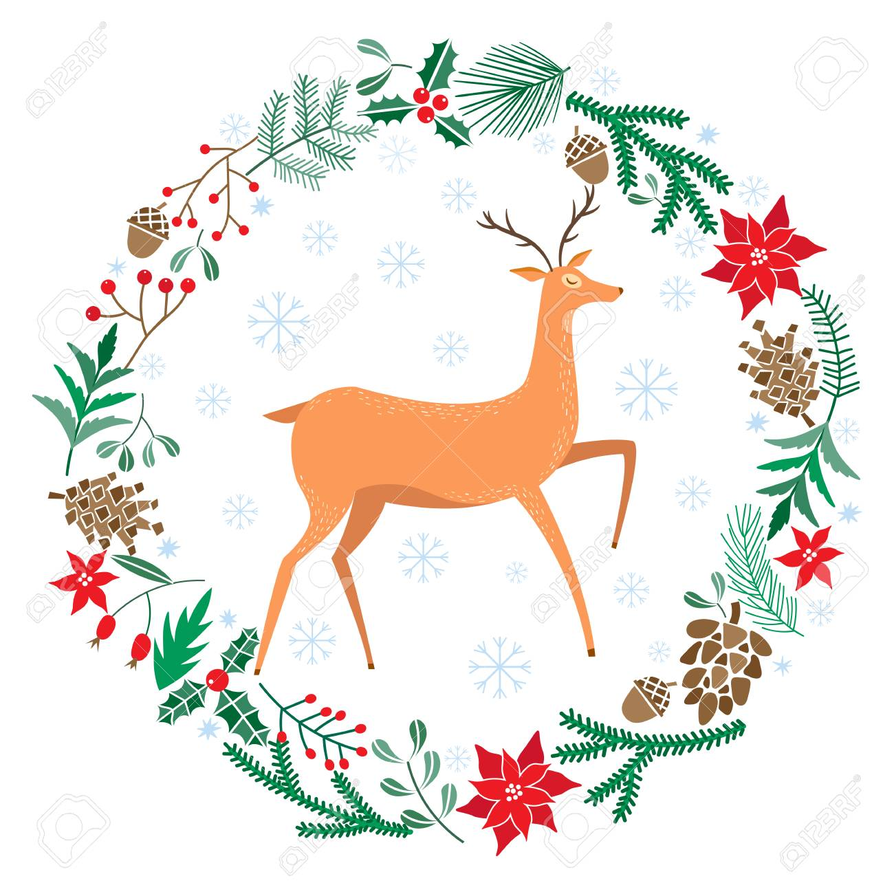 Chriatmas Wreath With Berries, Fir Branches, Deer. Round Frame ...