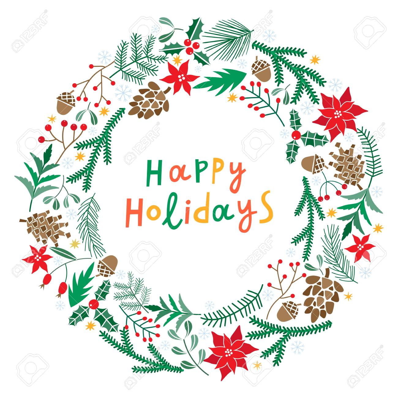 Happy Holidays Wreath With Berries Fir Branches Round Frame Royalty Free Cliparts Vectors And Stock Illustration Image 91100031