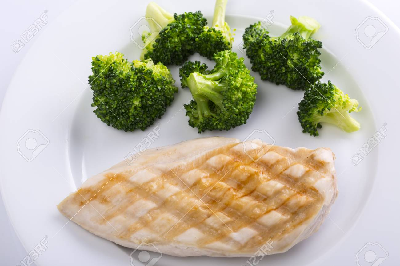Total 100 calories. Chicken breast and vegetables on a white plate,