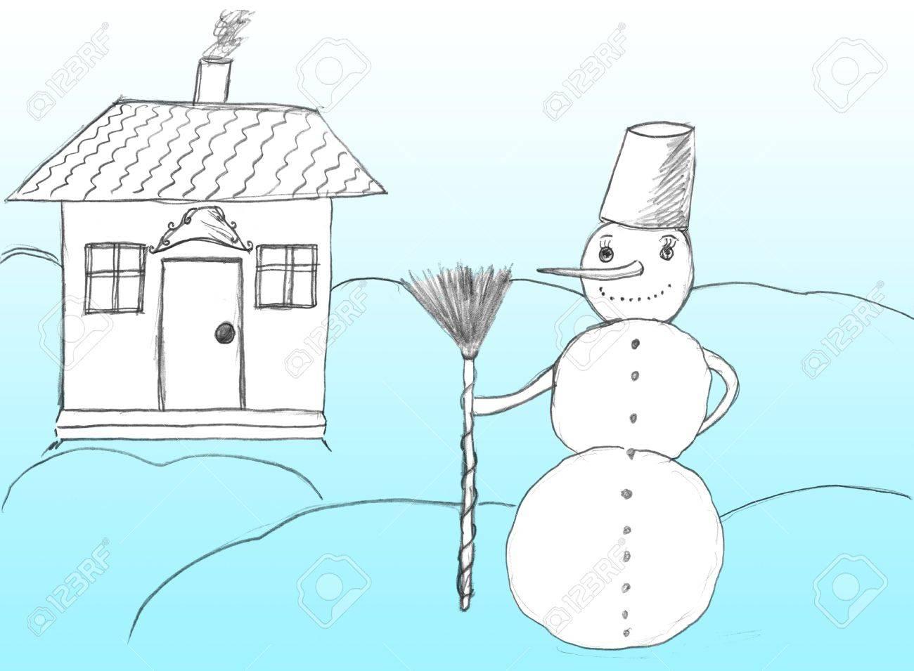 Christmas House Drawing.Christmas Snowman Near House Drawing