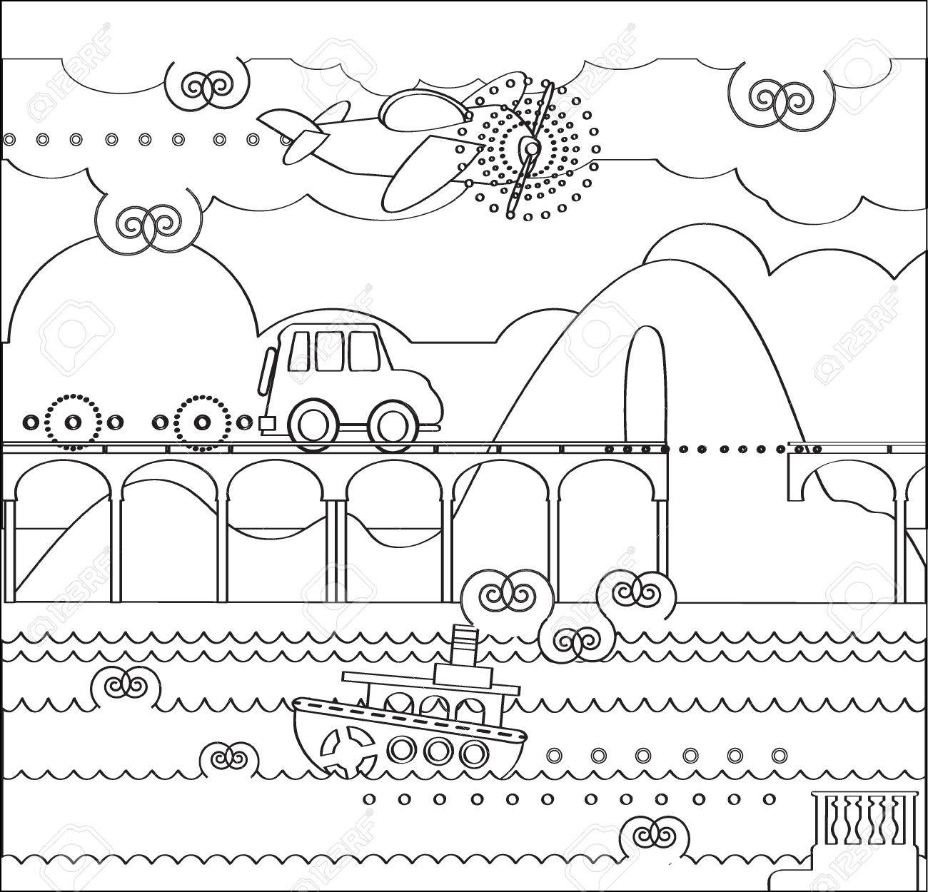 Kleurplaten Cars Planes.Coloring Page About Travel With Bridge Car Plane Boat Mountain