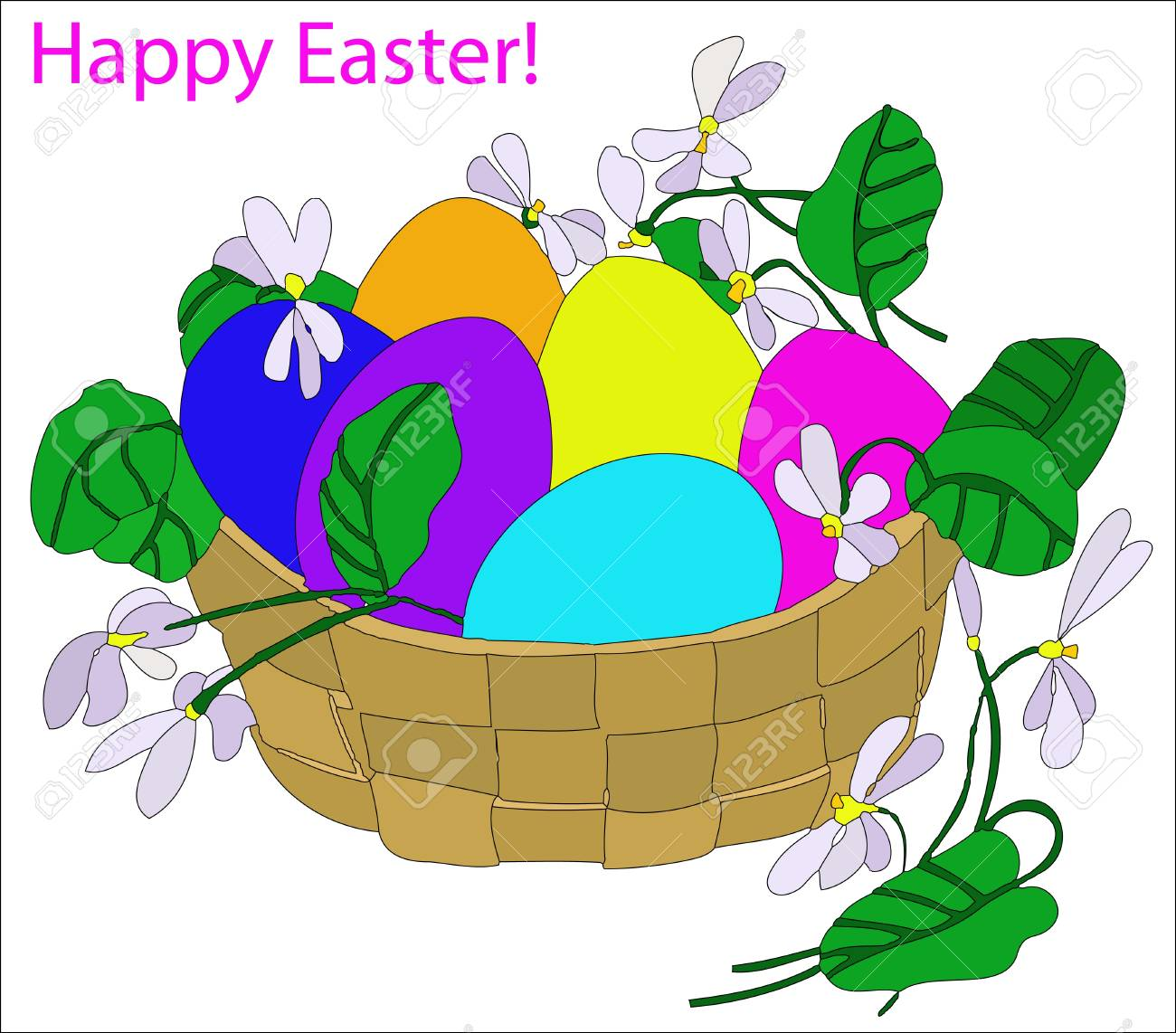 Basket with colorful Easter eggs and flowers Stock Vector - 13640558