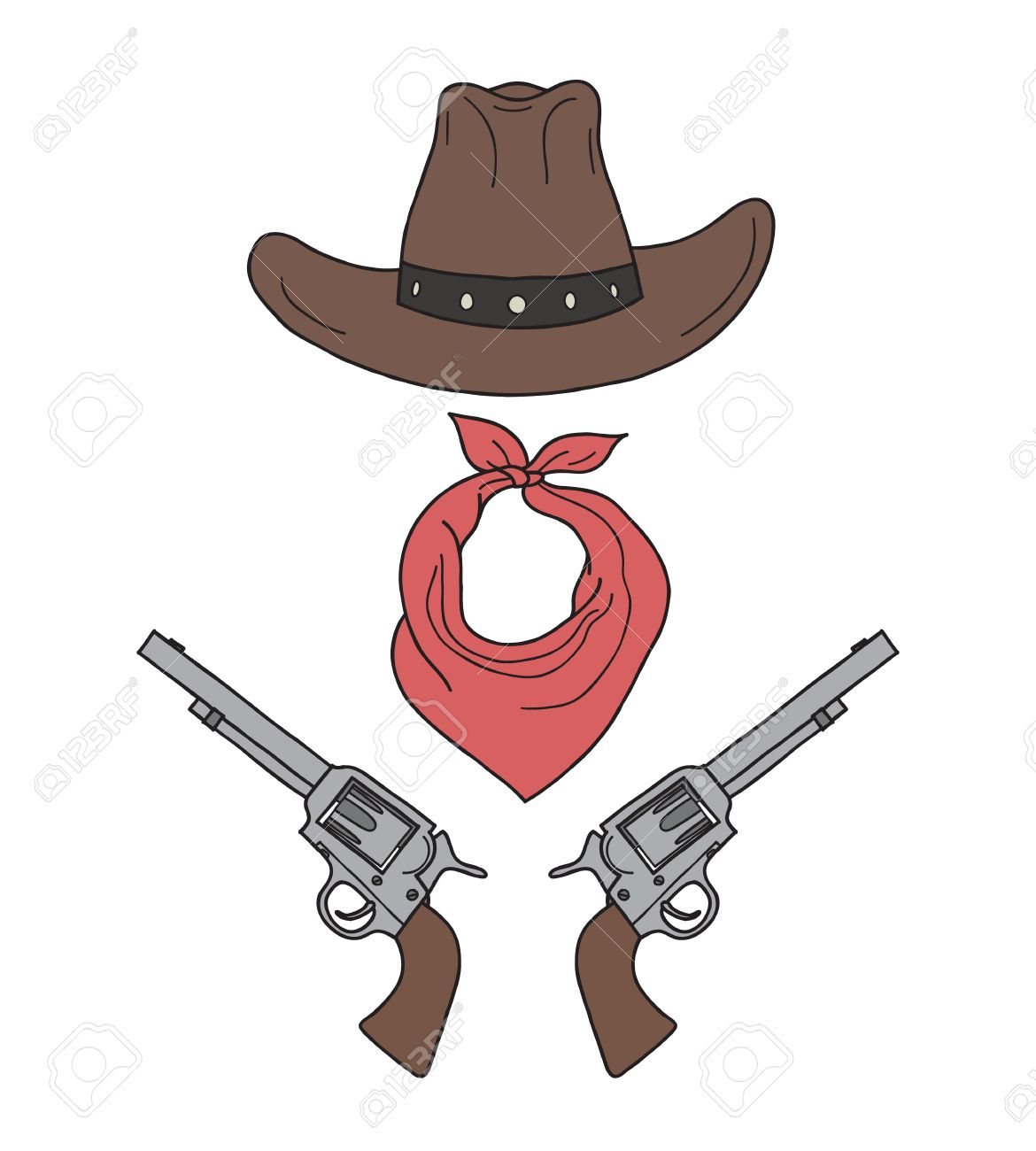 04bad8c9be4 Wild West Western Colored Elements. Hand Drawn Cowboy Accessories. Stock  Vector - 65352700