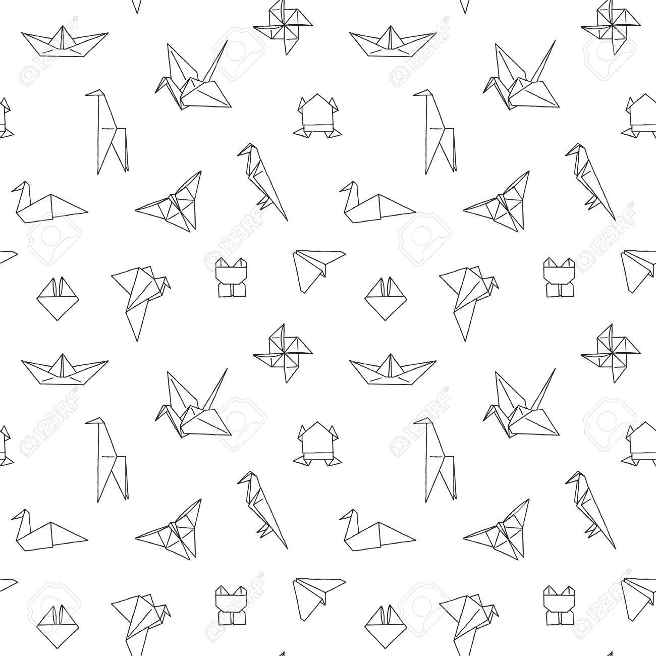 Black And White Cute Kids Seamless Pattern Repetitive Texture With Hand Drawn Origami Animals