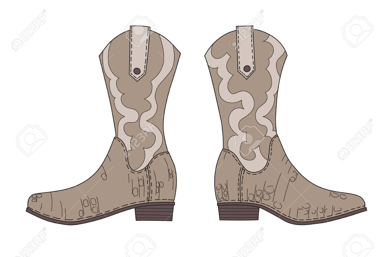 d36d574593fef Traditional cowboy boots hand drawn vector illustration. Wild..