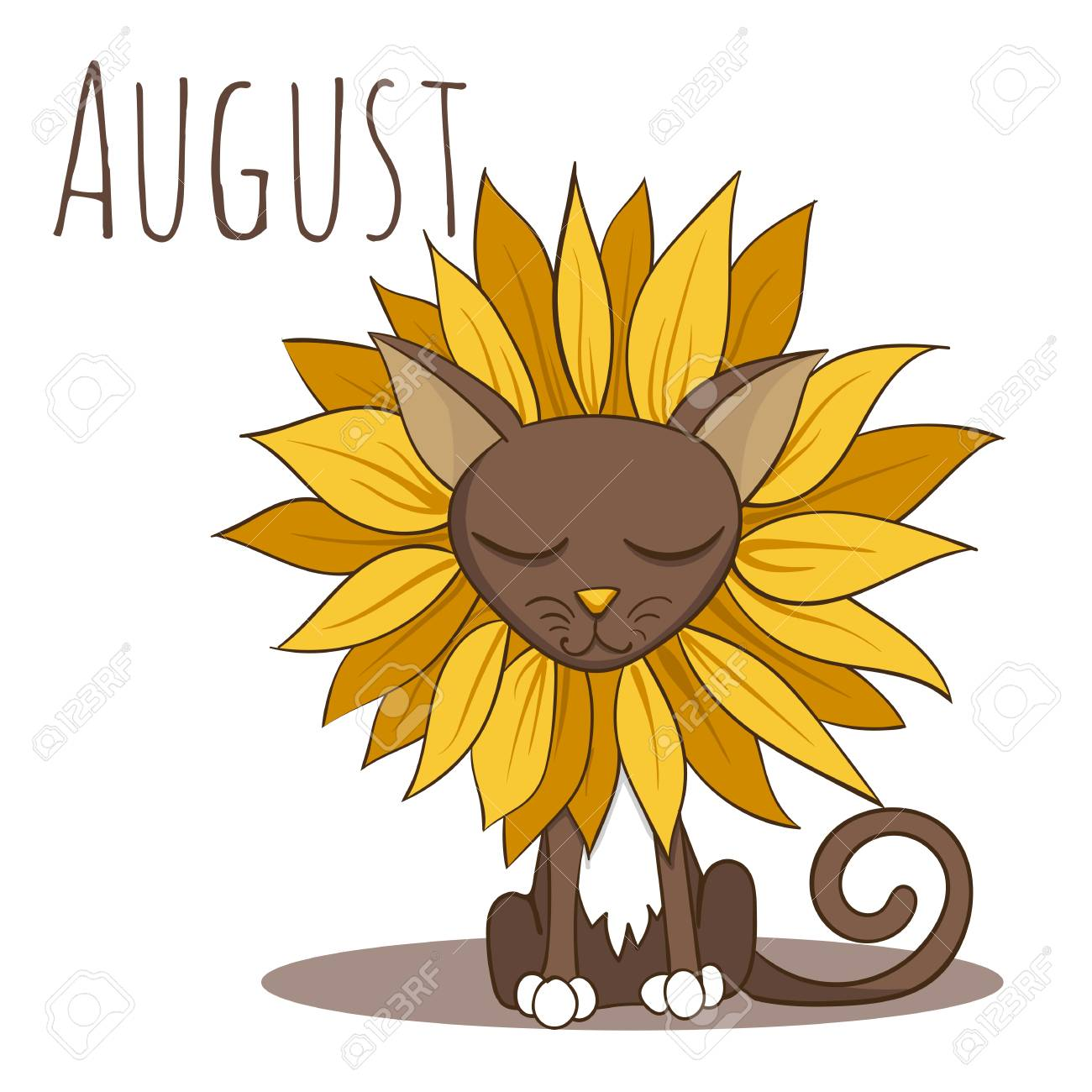 Cartoon Vector Cat For Calendar Month August Royalty Free Cliparts