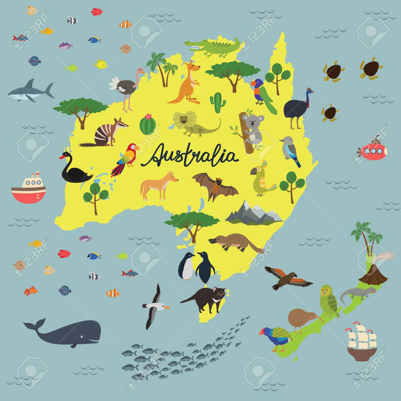 Australia To New Zealand Map.Map Of Animal Kingdom Of Australia And New Zealand Royalty Free