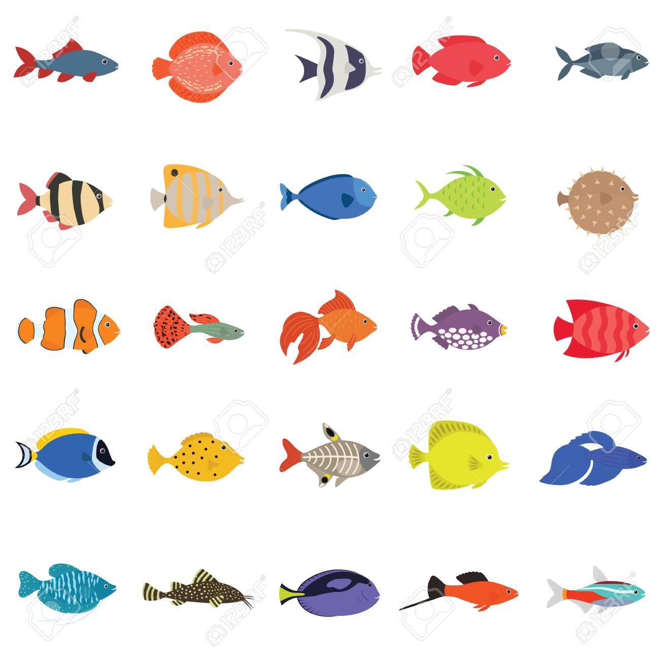 かわいい魚ベクトル イラスト アイコン セット熱帯魚海水魚観賞