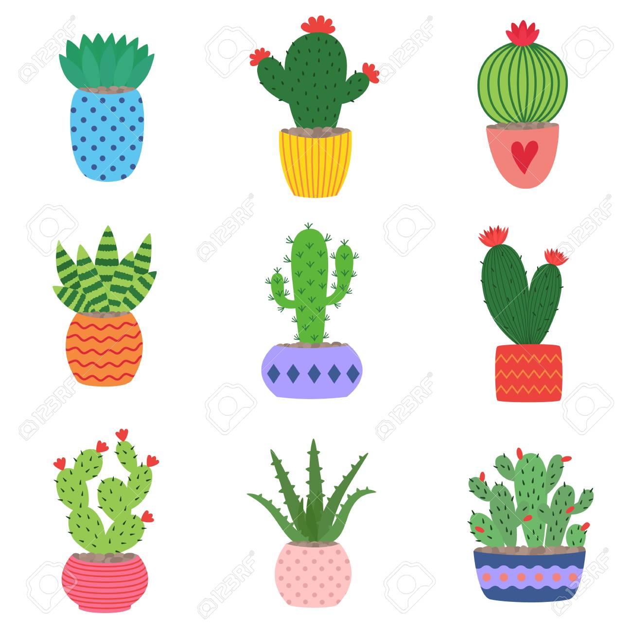 鍋のサボテンと多肉植物手描きのサボテンや多肉植物のかわいい小さな鉢