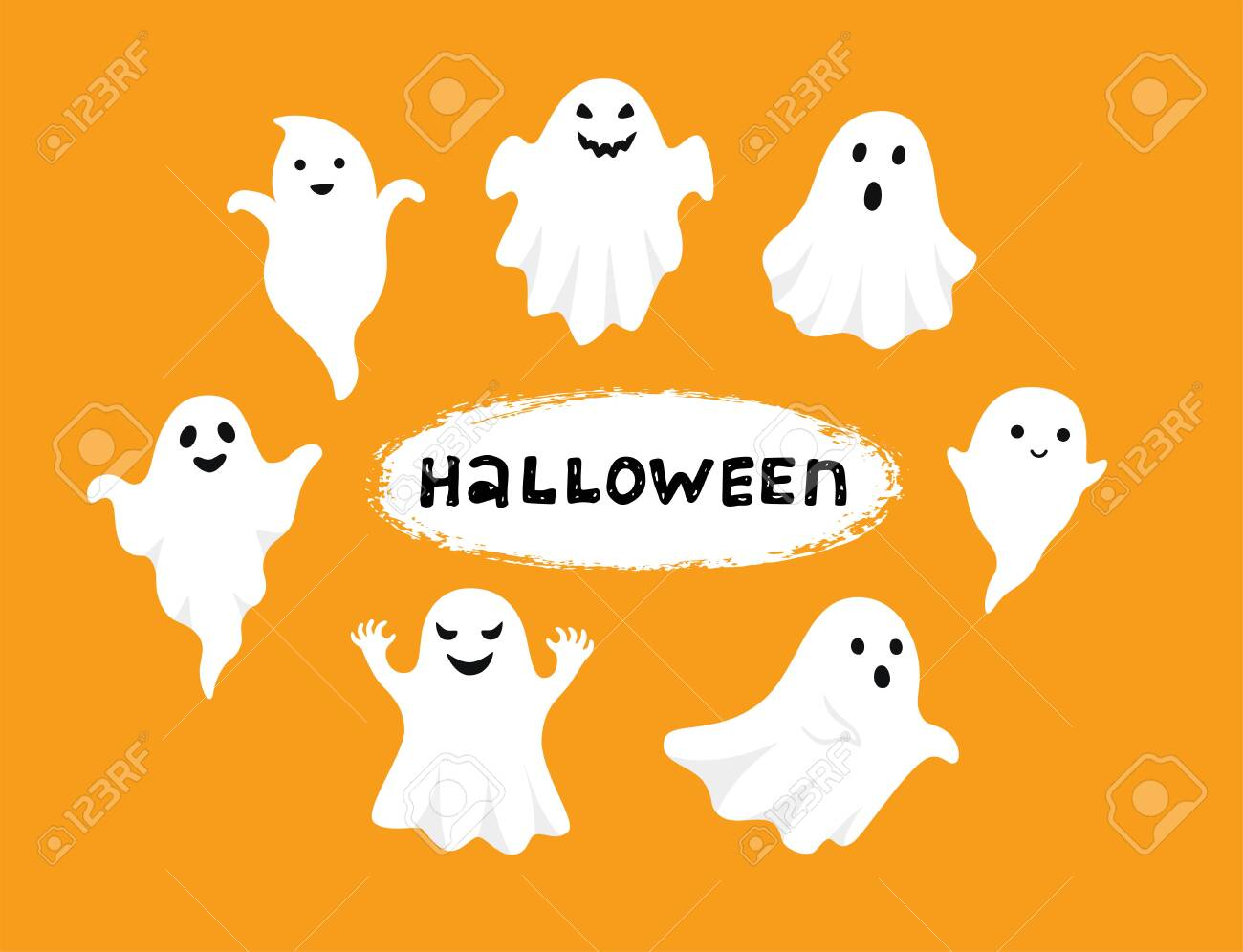 Happy Halloween, Ghost, Scary white ghosts. Cute cartoon spooky..