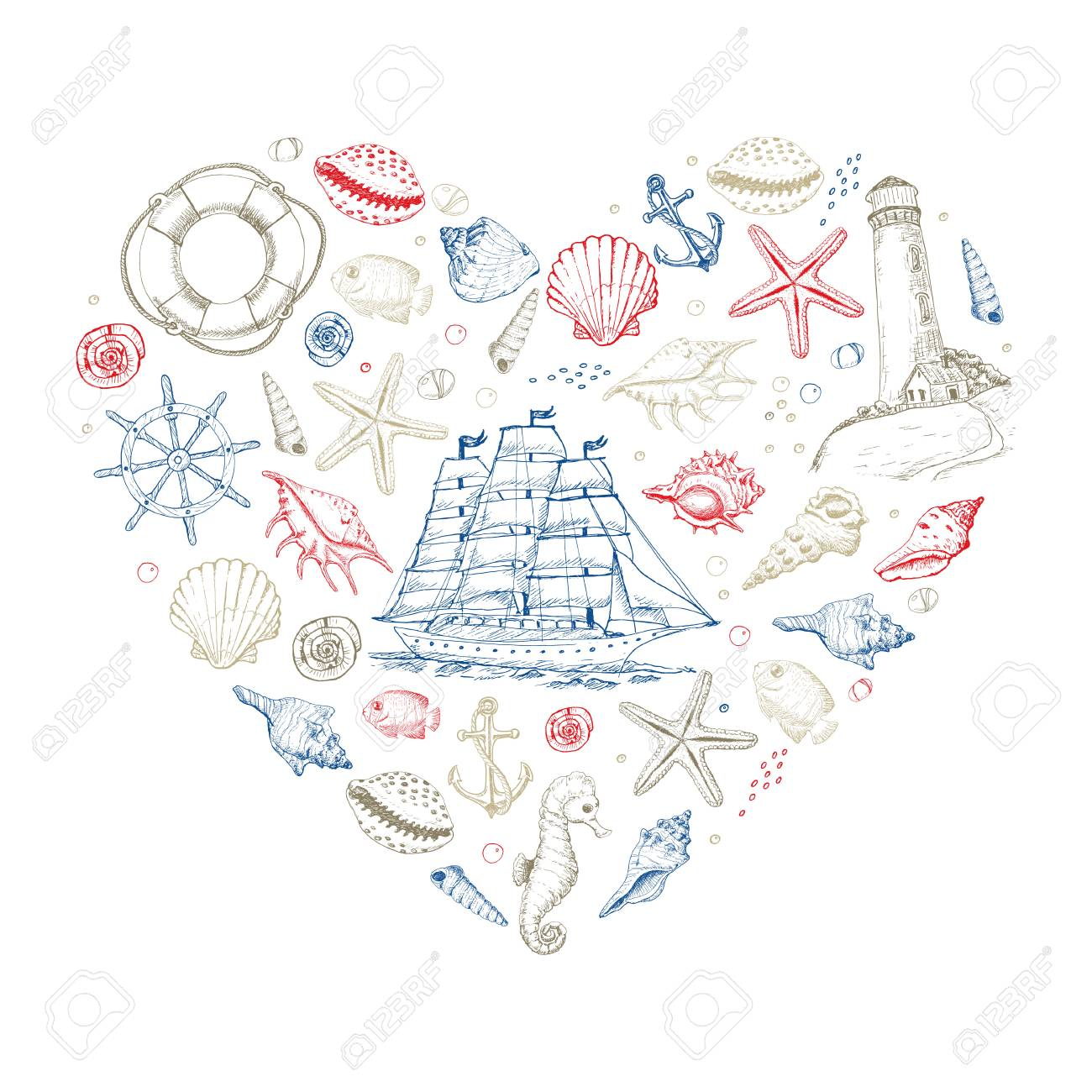 Vector heart from summer marine elements - 122749111