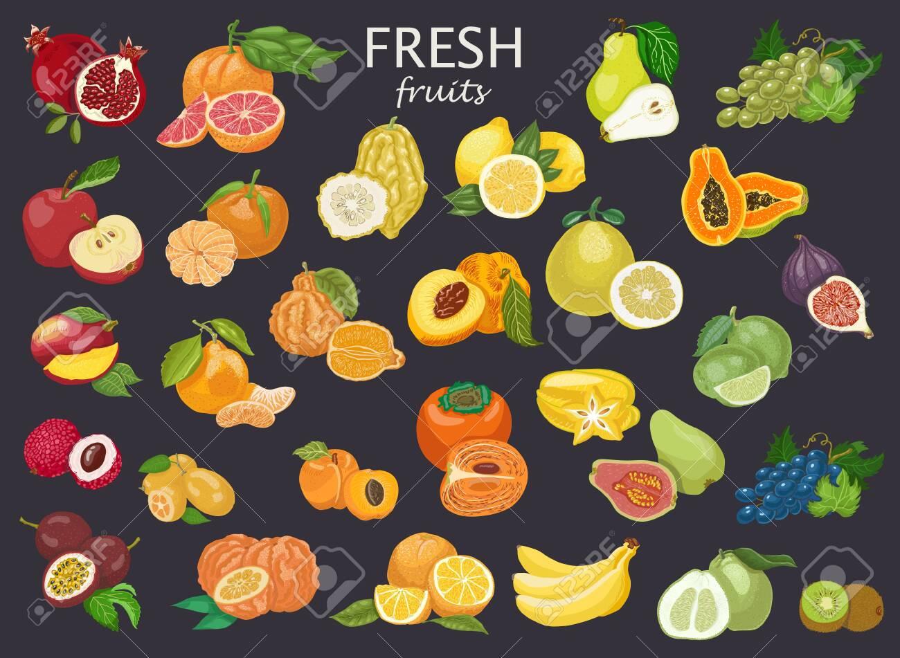 Big set of colored fruits. - 128376257