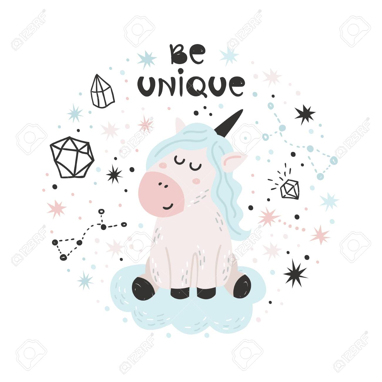 Cute poster with Unicorn. Isolated element for stickers, cards, invites and posters - 143778197