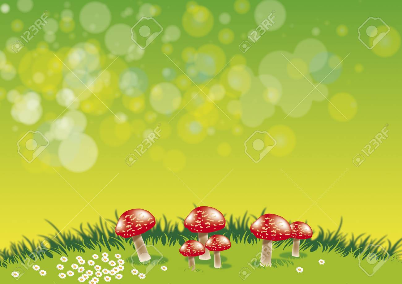 An illustration of a group of red toadstools set on a grassy ridge with daisys set against a green background. Stock Photo - 6116403