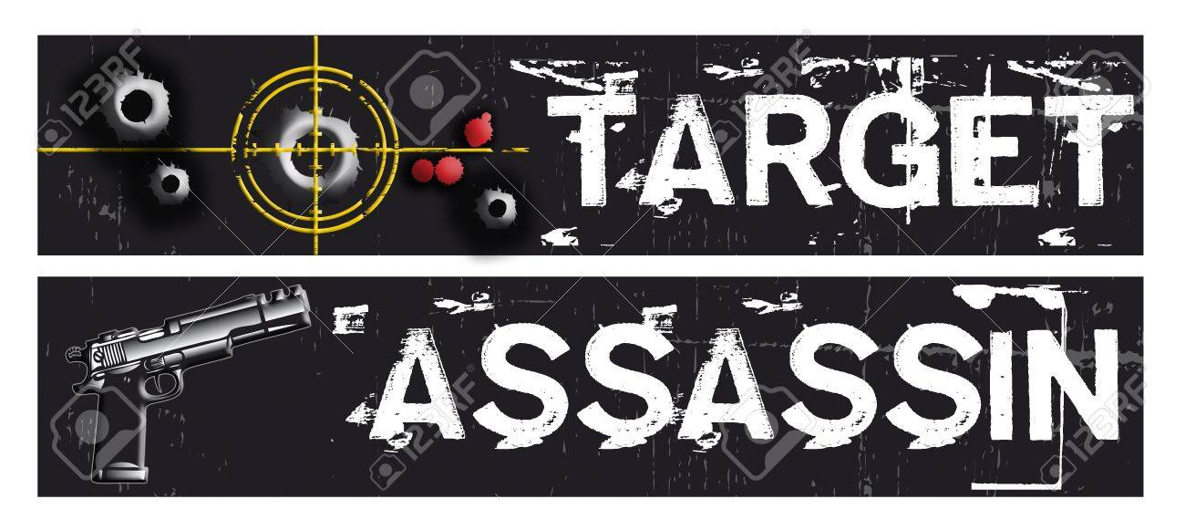 Two horizontal crime themed banners set on a black grunge background base. Target and assassin themed. Stock Photo - 6679364