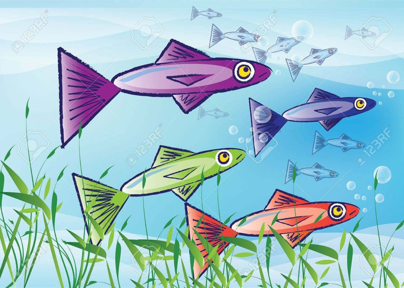 An illustration of stylized fish. Three colourful fish to the foreground with a shoal, or school, of smaller fish to the background over a blue background with grass reeds to the front. Stock Illustration - 7878987